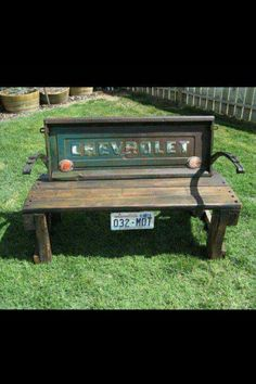 Tailgate bench shop, chevrolet, old trucks, garden benches, hous, backyard, tailgate bench, porch, yards