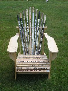 Hunt for old hockey sticks at garage sales and build this beauty :)