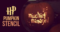 """Harry Potter pumpkin carving stencil,  """"I solemnly swear I am up to no good, mischief managed"""""""
