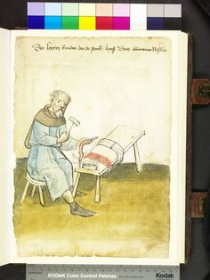 "Mendel Housebook, Amb. 317.2° Folio 40 recto, c 1425, Nuremberg (Nürnberg) ""the nestelmacher (schnürriemenmacher) sits at his work table, hitting his hammer the metal spikes forming a belt firmly. more metal sleeves are in a small box on the work table, where also are red and white belt bunch."""