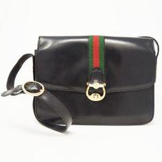 f156ecc2768 Gucci Vintage Black Leather Crossbody – DesignerShare Vintage Gucci,  Vintage Black, Gucci Black,