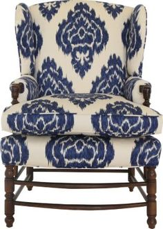 Blue and white wing back chair with ikat style patterning more
