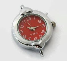1 Quartz Watch Face, Silver Tone with Red face - craft supplies, jewelry making W29S-GN by AndreasArtJewelry on Etsy