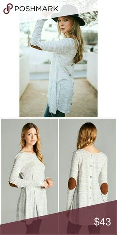Heather Gray Two Tone Tunic Two Tone light weight knit tunic top featuring suede elbow patch and fake placket.   Made in USA Tops Tees - Long Sleeve