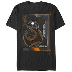 Get to know the smart, charismatic, and fiercely loyal droid pal of Poe Dameron with the Star Wars BB-8 Super Advance Intelligence Black T-Shirt! A schematics-style print of BB-8 is featured on the front of this unique black BB-8 shirt.