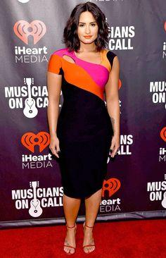 Demi Lovato in a colorblock dress