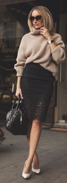 Black Lace Hem Pencil Midi Skirt