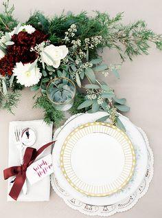gold + lace place setting | Kristen Kilpatrick