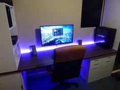 yourpcbuilds:/u/chinds / 32 Monitor x Custom Desk Setup Desk, Computer Desk Setup, Gaming Room Setup, Pc Desk, Pc Setup, Office Setup, Office Workspace, Office Games, Gaming Rooms
