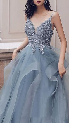 Buy Spaghetti Straps Blue Gray Tulle V Neck Long Ruffles Prom Dresses with Lace Applique online.Shop short long ombre prom, homecoming, bridesmaid evening dresses at Couture Candy Cocktail party dresses, formal ball gowns in ombre colors. Prom Dresses Two Piece, Formal Dresses, Blue Dresses, Ruffles, Dresser, Blue Bridal, Professional Dresses, Lace Applique, Dream Dress