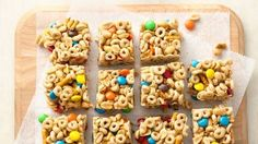I made our family's favorite no-bake bar into a bite-size treat that's cool for school. Snack on! Cheerios, brown sugar, honey, peanut butter. mm!