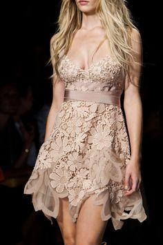 Beige Floral Lace Dress
