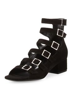 Suede+Strappy+40mm+Sandal,+Black+by+Saint+Laurent+at+Neiman+Marcus.