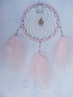 Angel Personalised Dreamcatcher Pink