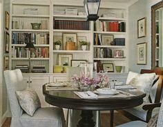 mix of hardwood furnishing and slipcovers.
