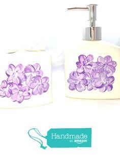 Hand Painted Lavender Soap Dispenser and Toothbrush Holder Bathroom set https://www.amazon.com/dp/B01H81COF2/ref=hnd_sw_r_pi_dp_96jzxb3A9N9PY #handmadeatamazon