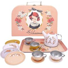 Moulin Roty Les Parisienne Tea Party Set – My Sweet Muffin Kids Toy Store, Tea Party Setting, Traditional Toys, Afternoon Tea Parties, Tea Service, Side Plates, Le Moulin, Imaginative Play, Pretty Pastel