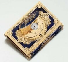 Gold and Enamel Dance Card with Concealed Watch - c1850