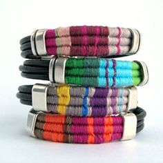 Tutorial on how to make leather bracelets with colored thread... although the tutorial is in spanish you can still understand it because of the pictures.