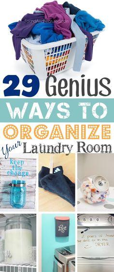 Incredibly clever laundry room organization ideas! I especially like the lint idea.