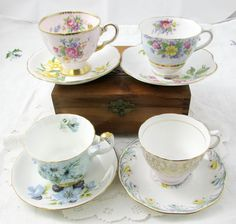 Vintage Mismatched Tea Cups and Saucers, Set of 4, Bone China, Great for Wedding, Baby Shower, Bridal Shower or Tea Party