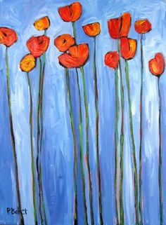 Abstract Red Poppies on Blue by pattyabaker on Etsy, $170.00
