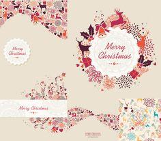 5 modelos retro de Navidad alce ilustrador material de vectores