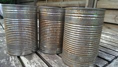 DIY RUST - How to age/rust tin cans. Also a tutorial on tin can lanterns using a drill.