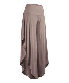Loving this Khaki Side-Slit Palazzo Pants - Women & Plus on #zulily! #zulilyfinds