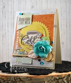 Handmade card by Stacey Schafer using the Coffee set, Cuppa Joe Die Set and Coffee Word Die from Verve. #vervestamps #nationalcoffeeday #coffeeloversbloghop