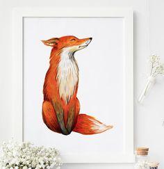printable fox print perfect for Nursery, kids room decor or wildlife nursery decor. ***Get free prints, Promo codes for digital prints