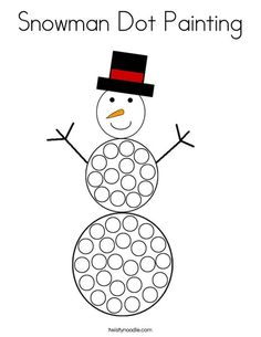 Snowman Dot Painting Coloring Page - Twisty Noodle Winter Activities For Toddlers, Colors For Toddlers, Fine Motor Activities For Kids, Snow Activities, Winter Crafts For Kids, Preschool Winter, Snow Theme, Winter Theme, New Year's Eve Crafts