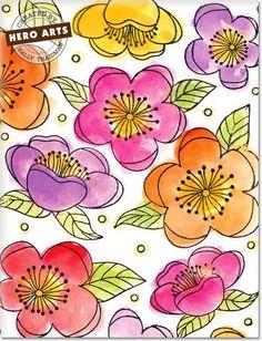 Hero Arts Cardmaking Idea: Watercolor Flowers
