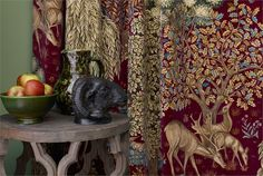 Shop for Fabric at Style Library: The Brook by Morris & Co. For Morris, tapestry was the highest form of decorative art. Art Nouveau Interior, Red Houses, Medieval Tapestry, Made To Measure Curtains, Arts And Crafts Movement, Designer Wallpaper, Wallpaper Designs, Red Fabric, William Morris