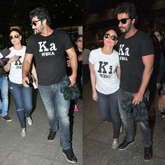 After unleashing the Ki & Ka mania in Ahmedabad ArjunKapoor and Kareena Kapoor Khan were clicked at the airport returning to Mumbai. Kareena sported her Ki tee and Arjun wore his Ka tee and the two stars created quite a stir when fans spotted them. The duo happily posed and interacted with fans and the gentleman Arjun sweetly led the way for Kareena. We like! by #Filmfare. Shared by #BollywoodScope