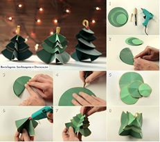 Easy Christmas crafts for kids:Use scrap book paper Noel Christmas, Christmas Crafts For Kids, Christmas Tree Decorations, Holiday Crafts, Christmas Ornaments, Xmas Trees, Simple Christmas, Kids Crafts, New Year's Crafts