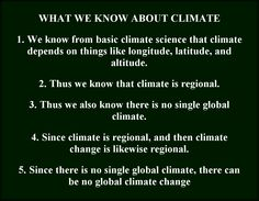 What we know about basic climate and what we can deduce from this knowledge