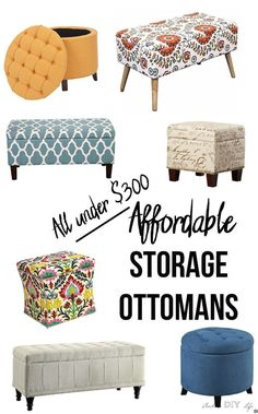 I can't decide! Saving this for the future. I ever expected so many fun choices in affordable storage ottomans. Living room furniture on a budget just got better! Small Storage Ottoman, Tufted Storage Bench, Diy Ottoman, Affordable Storage, Affordable Furniture, Affordable Home Decor, Vintage Interior Design, Home Furnishings, Diy Home Decor