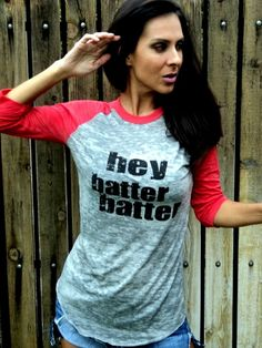 Hey Batter Batter Burnout Baseball Tee Red by FiredaughterClothing, $33.00