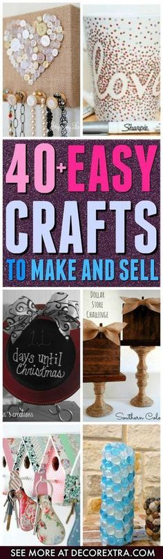 Crafts to Make and Sell.You can make lots ofdifferent type of things with cheap items andyou can get started selling your crafts on Etsy or other stores, so in this article we present you one