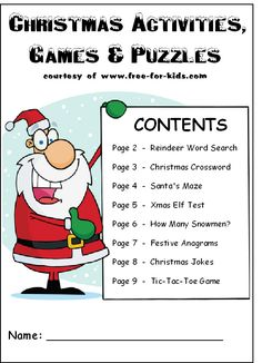 10 pg Christmas Game Book Would change to things about the real Christmas story