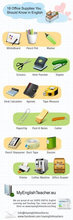 18 office supplies in English - vocabulary English Tips, English Idioms, English Fun, English Study, English Resources, English Words, English Lessons, English Vocabulary, English Grammar