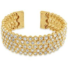 Bling Jewelry Bling Jewelry Flexible Crystal Gold Plated Bridal Bangle... ($23) ❤ liked on Polyvore featuring jewelry, bracelets, clear, bridal cuff bracelet, gold plated cuff bracelet, bridal jewellery, adjustable cuff bracelet and hinged cuff bracelet