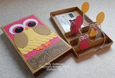 pop up gift box, owl. Small oval punch; envelope punch board; owl builder punch; Simply Scored; Scallop oval punch; scalloped edge punch; 1-1/4, 1 & 3/4 Circle punches; bakers twine; mini glue dots   Read more: http://www.splitcoaststampers.com/gallery/photo/2509686#ixzz30JvVUrqQ