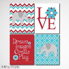 Elephant Art Prints Baby Girl Nursery Decor Set by HollyPopDesigns, $43.00