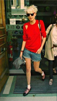 agyness deyn. denim shorts, cute cut-outs on the shirt