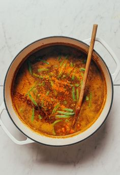 lentil soup made with sweet potatoes, green beans, and warming spices! The ultimate simple, comforting meal with customizable ingredients! Lentil Potato Soup, Lentil Recipes, Bean Recipes, Steamed Vegetables, Baker Recipes, Cauliflower Soup, Minimalist Baker, Soups And Stews