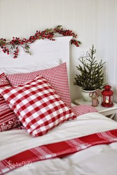 Love the headboard and the berries. Plus I'm crazy about plaids and checkered prints.