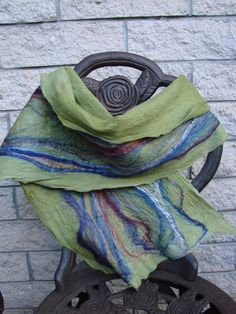 Olive Green and multi color felted scarf by oksana on Etsy, $44.00