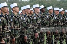 French soldiers of the 4th regiment of the Foreign Legion sing on October 25, 2013 at the Bel Air farm near the southwestern French town of Castelnaudary.